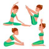Yoga Vrouwelijke Vector Het uitrekken zich en het Verdraaien practicing Het spelen in Verschillend stelt Vrouw Geïsoleerd op Wit  vector illustratie