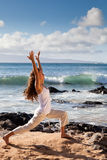 Yoga Warrior I Pose in Maui Hawaii Royalty Free Stock Image
