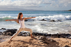 Yoga Warrior II Pose in Maui Hawaii Royalty Free Stock Photos