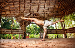 Yoga warrior in Indian shala Royalty Free Stock Photos
