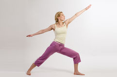 Yoga warrior pose Royalty Free Stock Photos