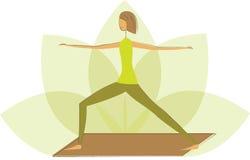 Yoga warrior pose. Stylized yoga warrior pose on the flower of lotus Royalty Free Stock Images