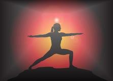Yoga Warrior Pose Glare Background Royalty Free Stock Images