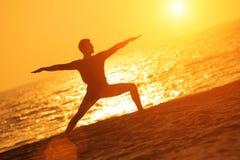 Yoga warrior pose Stock Photos