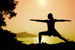 Yoga warrior pose Stock Images