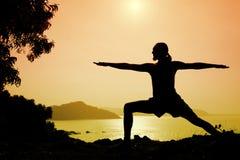 yoga silhouette warrior ii pose stock photo  image 21328538