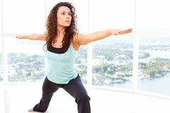 Yoga Warrior Pose Royalty Free Stock Photography