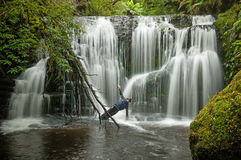 Yoga In Waterfall Royalty Free Stock Images