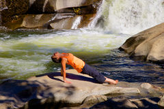 Yoga at Waterfall Royalty Free Stock Photography