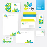 Yoga wellness flower corporate identity style set with envelope, blank, bussines card and disk Stock Image
