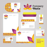 Yoga wellness flower corporate identity style set with envelope Stock Image