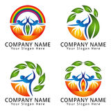 Yoga, Wellness, Health, People, Natural with Rainbow and Fire Concept Logo Stock Photos