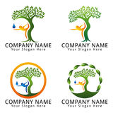 Yoga, Wellness, Health, Tree, People, Natural Concept Logo Stock Photos