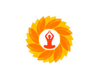 Yoga Wellness Icon Logo Design Element Stock Image