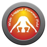 Yoga Wide Legged Forward Fold Pose Red Icon. A yoga woman silhouette performing wide legged forward fold pose on an red icon isolated on a white background Royalty Free Stock Photo