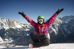 Yoga and winter happiness Stock Photography