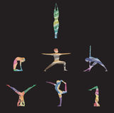 Yoga wirft asana im Aquarell auf Stockfotografie