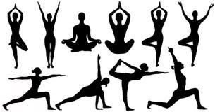 Yoga wirft das Frauen-Schattenbild auf, das über weißem Hintergrund lokalisiert wird stockfotografie
