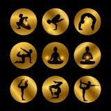 Yoga wirft die Ikonen auf, die mit weiblichem Schattenbild eingestellt werden Lizenzfreies Stockfoto