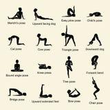 Yoga wirft Ikonen auf stock abbildung