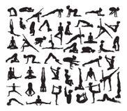 Yoga wirft Schattenbilder auf Stockfotos