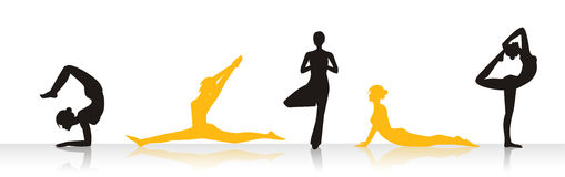 Yoga Woman. A woman performing various yoga poses in silhouette stock illustration