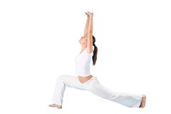Yoga woman. The sports girl in a pose yoga on a  white background Royalty Free Stock Image