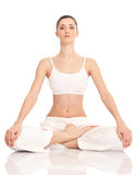 Yoga woman. Young woman doing yoga exercise, isolated on background Stock Images