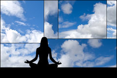 Yoga woman. Silhouette of woman yoga on cloud's composition Stock Photo