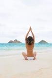 Yoga woman beach white royalty free stock image