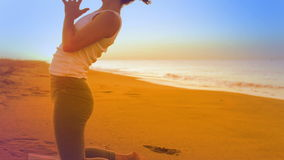 Yoga woman. Beautiful young woman practices yoga moves and positions stock video