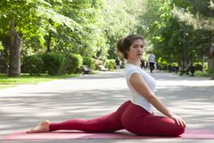 Yoga woman doing morning exercise, healthy woman. Portrait royalty free stock image