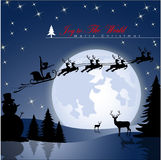Yoga Woman flying in Santa's sleigh. Yoga Woman flying in Santa's sleigh against a full moon background with stars and Christmas tree's. Vector Illustration Stock Image