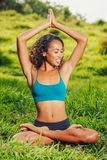 Yoga woman on green grass Stock Images