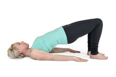 Yoga woman green position_16 Royalty Free Stock Photography