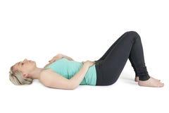 Yoga woman green position_12 Stock Photos