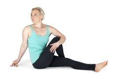 Yoga woman green position_64 Stock Photo