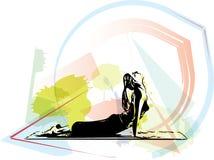 Yoga woman illustration Royalty Free Stock Photo