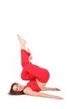Yoga woman lies , legs up Stock Photo