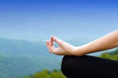 Yoga woman in lotus pose stock photography