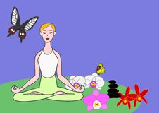 Yoga woman. Meditating with butterflies and orchids royalty free illustration