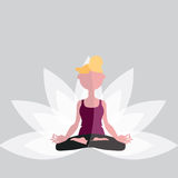 Yoga. Woman meditating in the lotus position Royalty Free Stock Photography