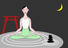 Yoga woman. Meditating on raked sand with zen stones royalty free illustration