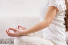 Yoga Woman Meditating Relaxing Healthy Lifestyle Stock Photos