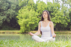 Yoga Woman Meditating Relaxing Healthy Lifestyle Royalty Free Stock Images