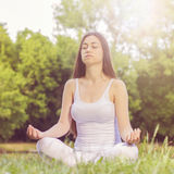Yoga Woman Meditating Relaxing Healthy Lifestyle Stock Image