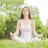 Yoga Woman Meditating Relaxing Healthy Lifestyle Stock Images