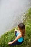 Yoga woman on mountain Royalty Free Stock Photo