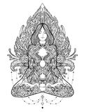 Yoga. Woman ornate silhouette sitting in lotus pose over ornamen Royalty Free Stock Image