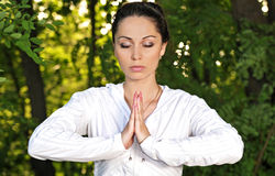 Yoga woman on park Royalty Free Stock Photo